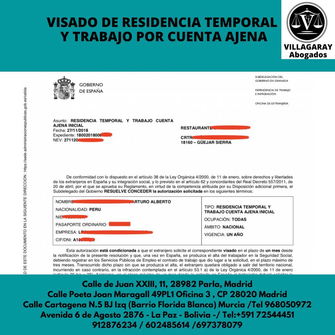 VISADO DE RESIDENCIA TEMPORAL Y TRABAJO POR CUENTA AJENA